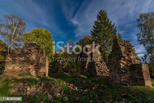 istock Old ruin of church of Saint Bartolomej near Besiny village in south Bohemia 1190905380