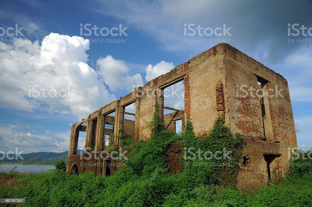 Old Ruin Temple Under Water at Kanchanaburi Province, Thailand royalty-free stock photo