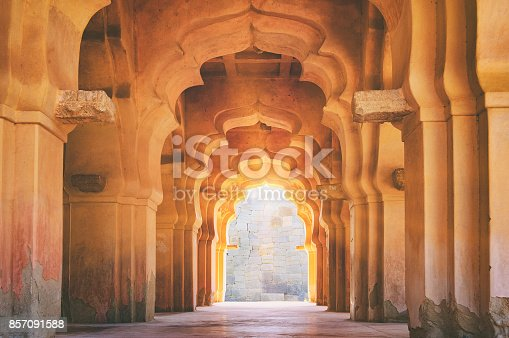 istock Old ruined arch of Lotus Mahal in Hampi, India 857091588