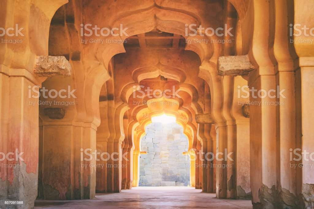 Old ruined arch of Lotus Mahal in Hampi, India stock photo