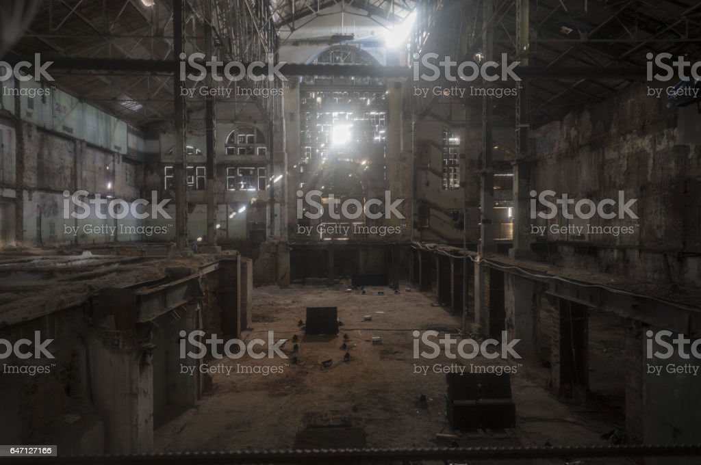 old ruined factory shop stock photo