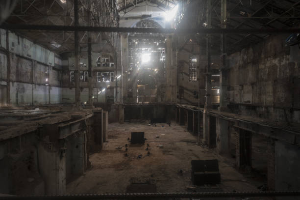 old ruined factory shop - abandoned stock photos and pictures