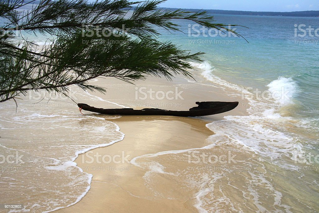 Old ruined fishing boat at sandy bar royalty-free stock photo