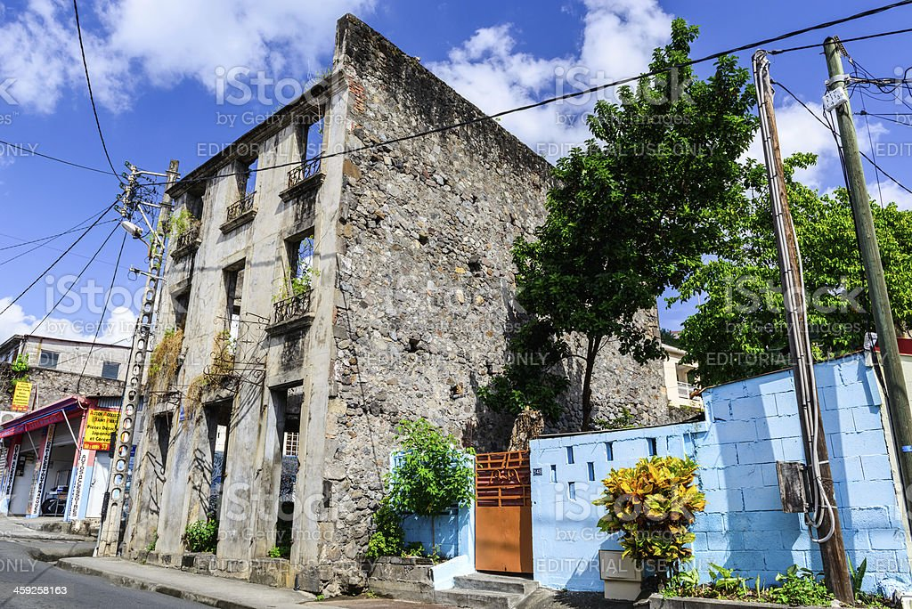 Old ruined house in St-Pierre on Martinique royalty-free stock photo