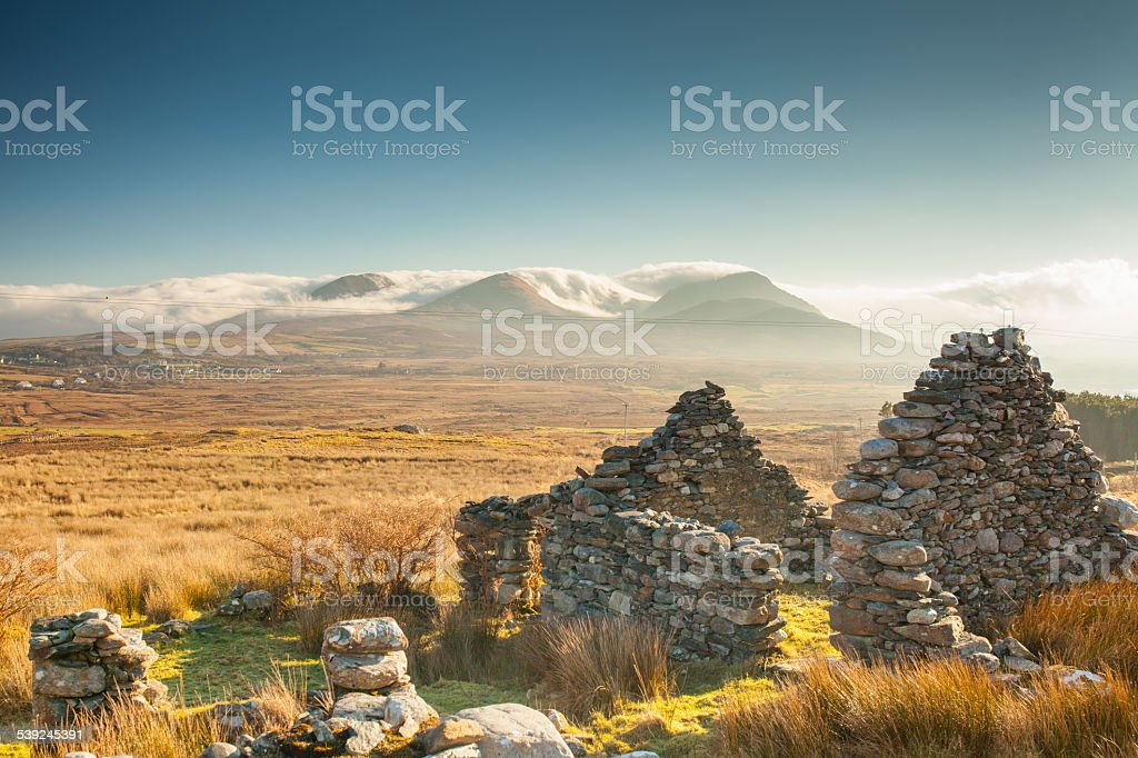 Old ruined house Renvyle, COnnemara stock photo