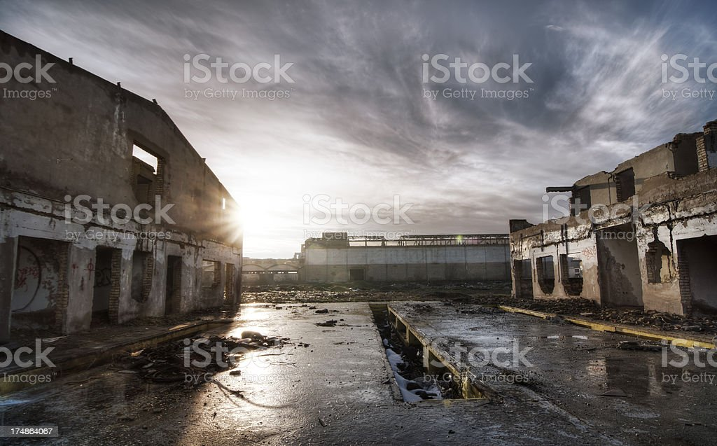 Old ruined industrial architecture royalty-free stock photo