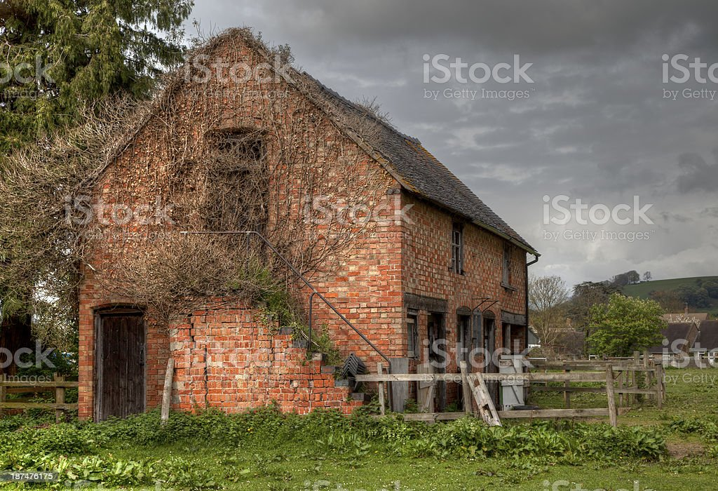 Old ruined stable, England stock photo