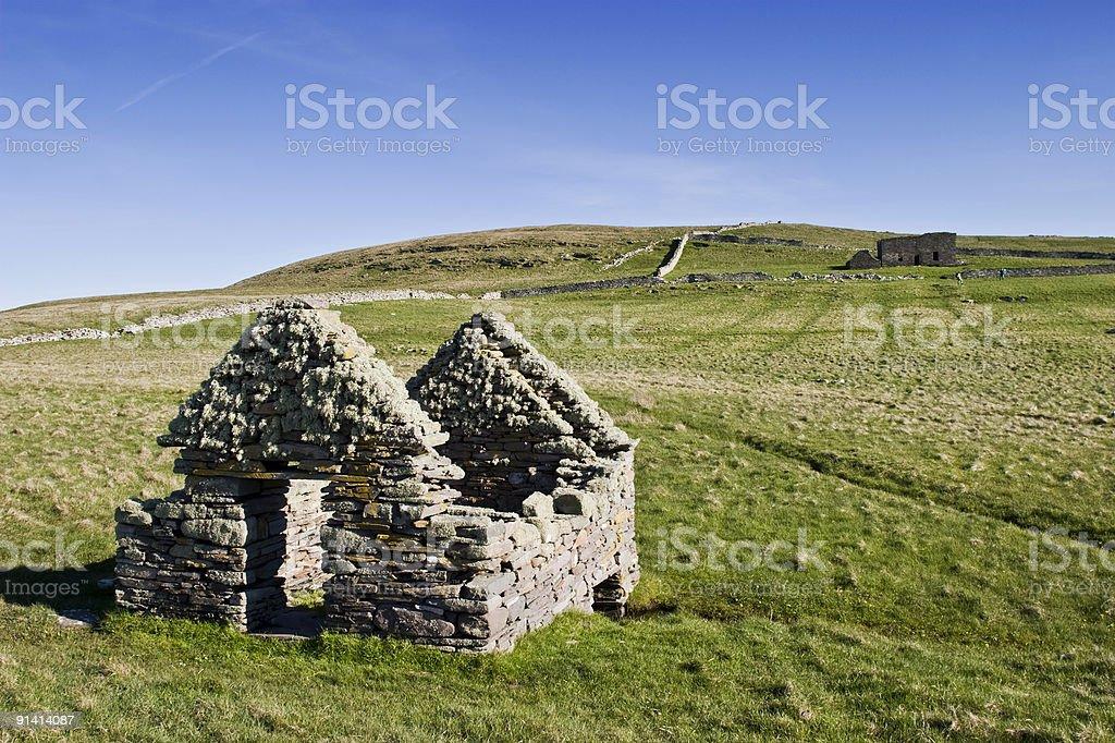 Old ruins at the heathland stock photo