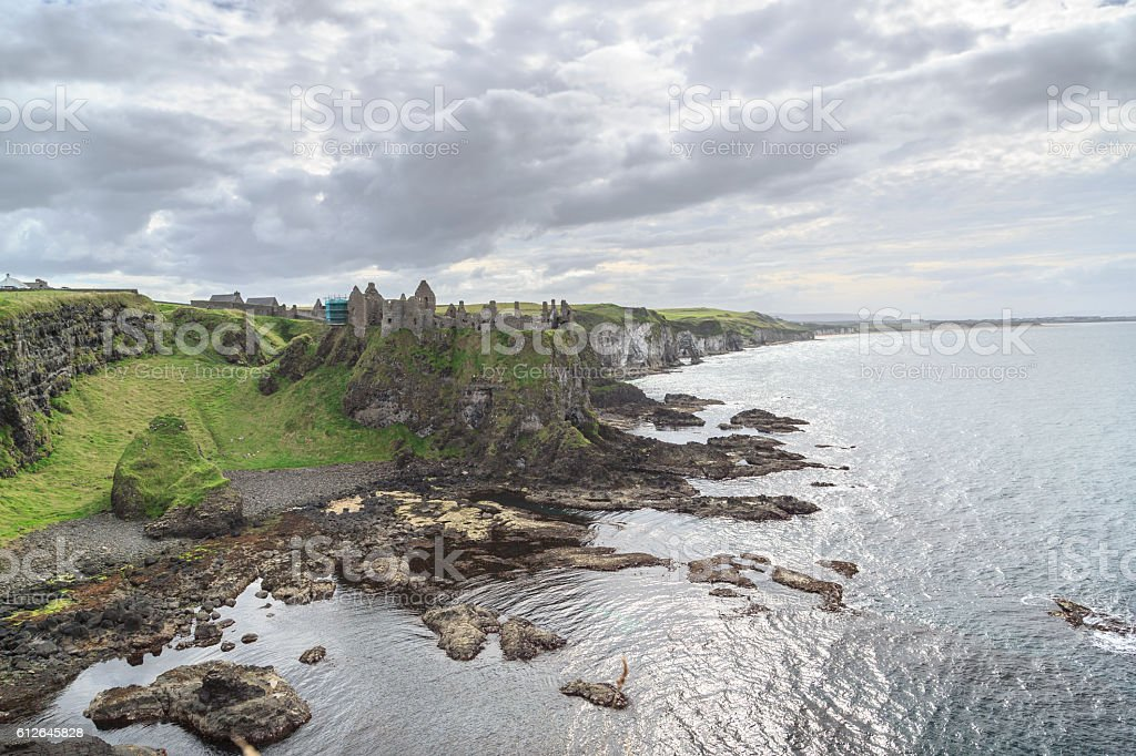 Old ruins castle on Cliffs. stock photo