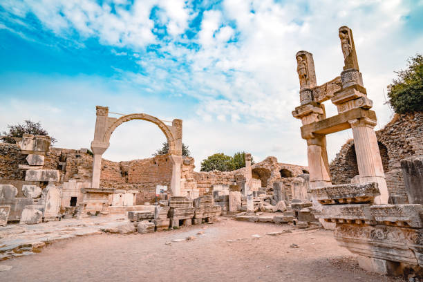 Old Ruins in Ephesus Ancient City Turkey - Middle East, Anatolia, Greek Culture, Roman, UNESCO World Heritage Centre celsus library stock pictures, royalty-free photos & images