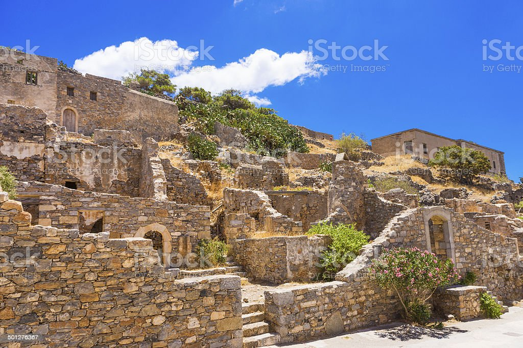 Old ruins in Spinalonga island, Crete, Greece stock photo