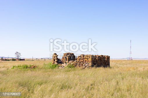 Old Ruins of a farm building in Rural Grassland Farming Area of the Karoo Semi-desert in South Africa