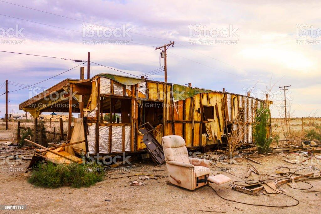 Old ruins of Bombay Beach, Salton Sea, California, United States. stock photo
