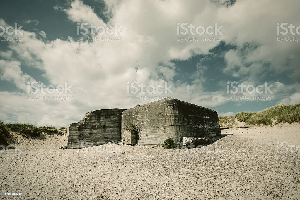 Old ruins of bunker stock photo