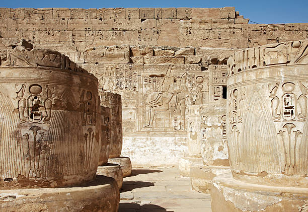 Old Ruins of Medinet Habu, Luxor, Egypt Hieroglyphics at mortuary temple of Ramses III Tomb Of Ramses III stock pictures, royalty-free photos & images