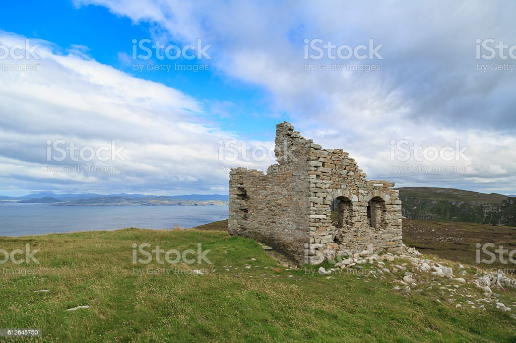 Old ruins on Horn Head Cliffs in Ireland. stock photo