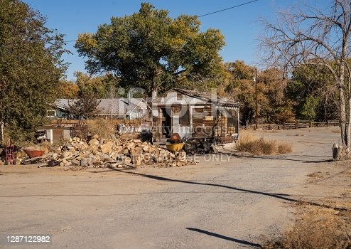 Jerome Idaho, USA - October 31, 2020: This image shows an old run down house in remote, rural community.