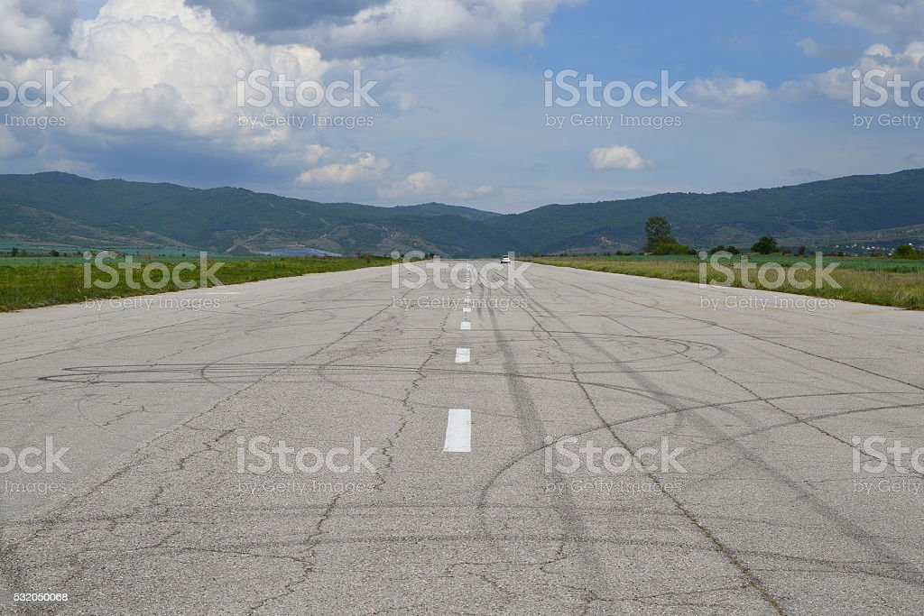 Old runway stock photo