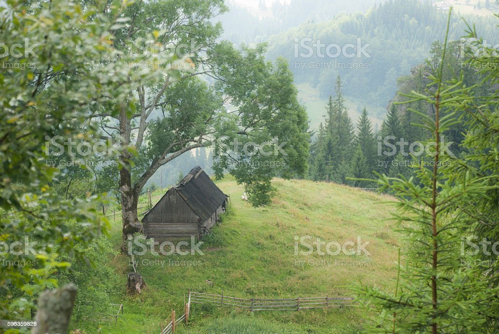 Old rural hut in the Carpathian Mountains. royalty-free stock photo