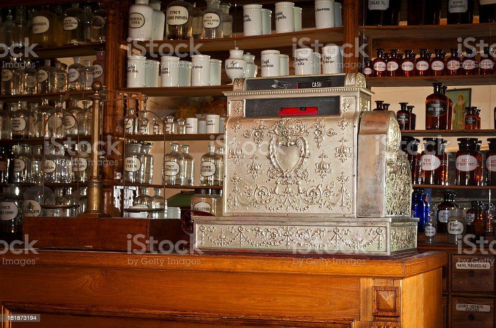 Old rural pharmacy stock photo