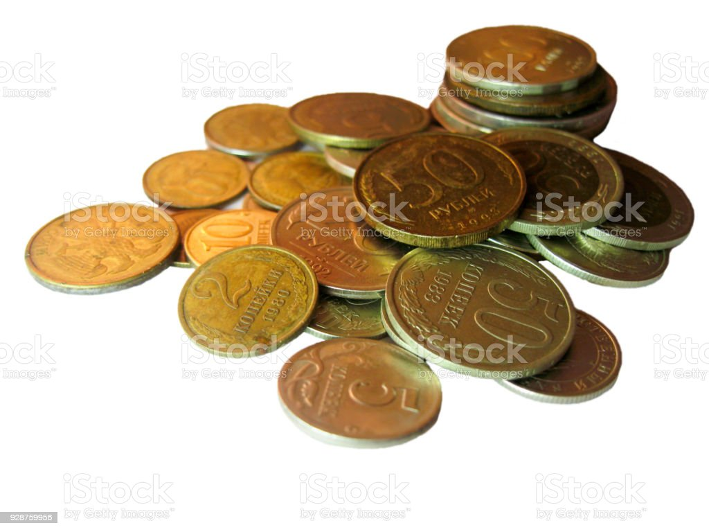 Old russian and soviet coins from different times stock photo