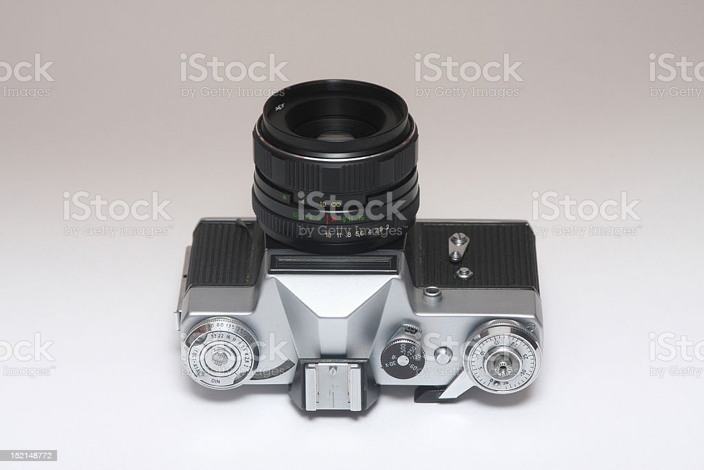 Old Russian Camera On His Back Stock Photo - Download Image