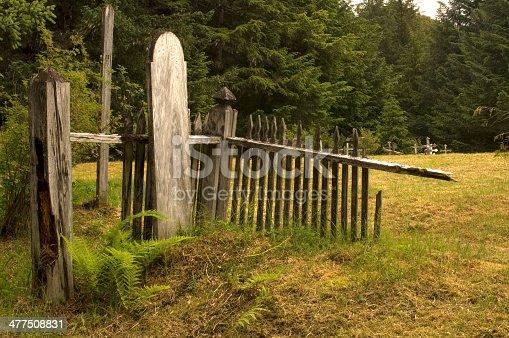 Wooden headstone in an old Russian cemetary near Cordova, Alaska