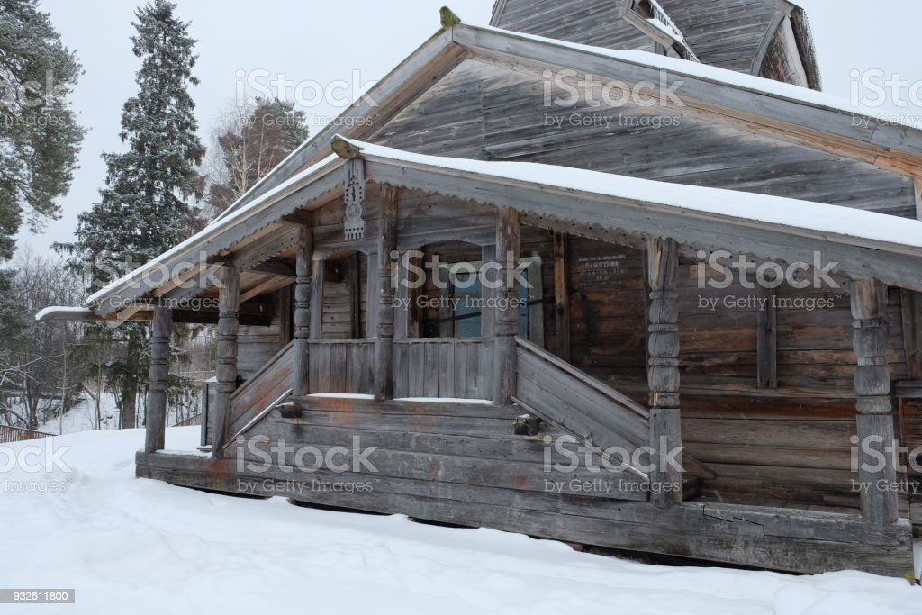 Old Russian church in winter nature picture. stock photo