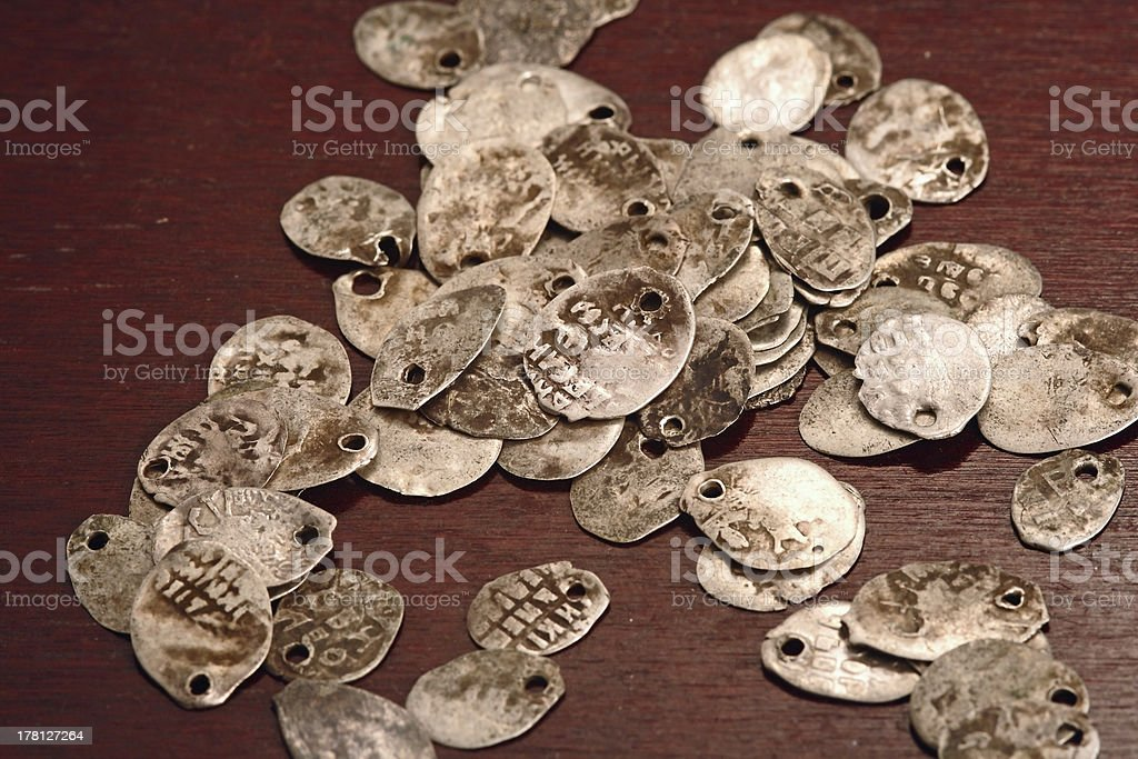 old russian coins on the table stock photo