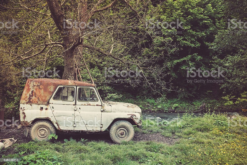 Old russian jeep in very bad condition stock photo