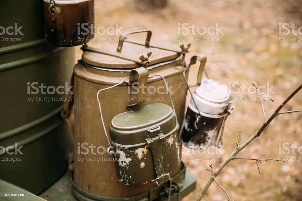 Old Russian Soviet World War II Marching Pot Dixie. WWII Military Equipment Of Red Army stock photo