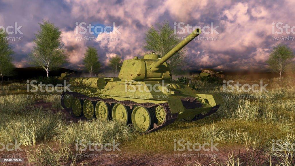 Old russian tank T 34 on WWII battlefield stock photo