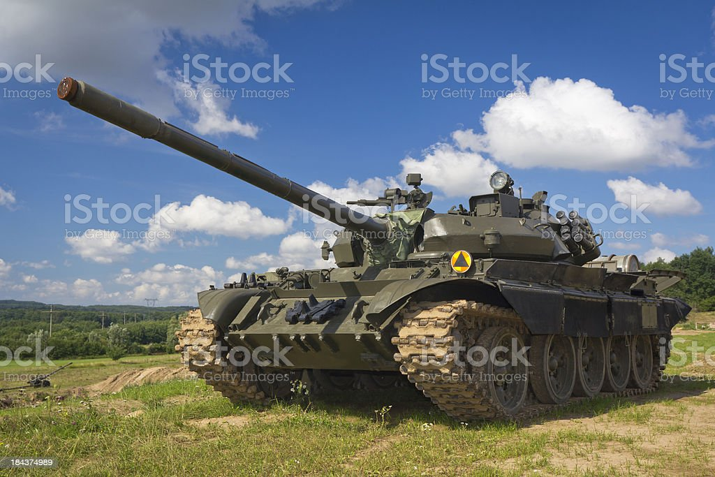 Old Russian tank T-55 stock photo