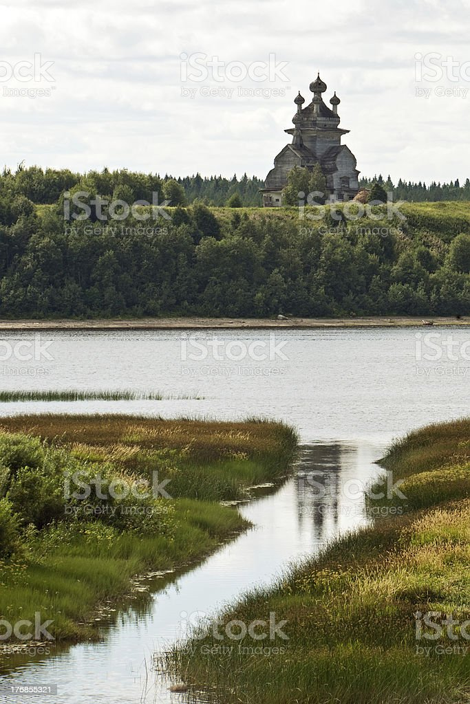 old russian wooden church stock photo