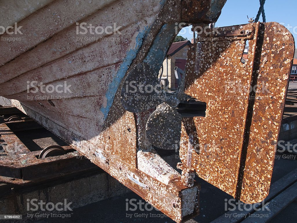 Old rust boat restoration royalty free stockfoto