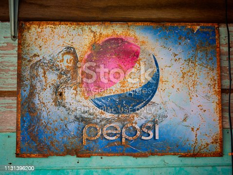 istock Old rust condition vintage wall of Pepsi logo. 1131396200