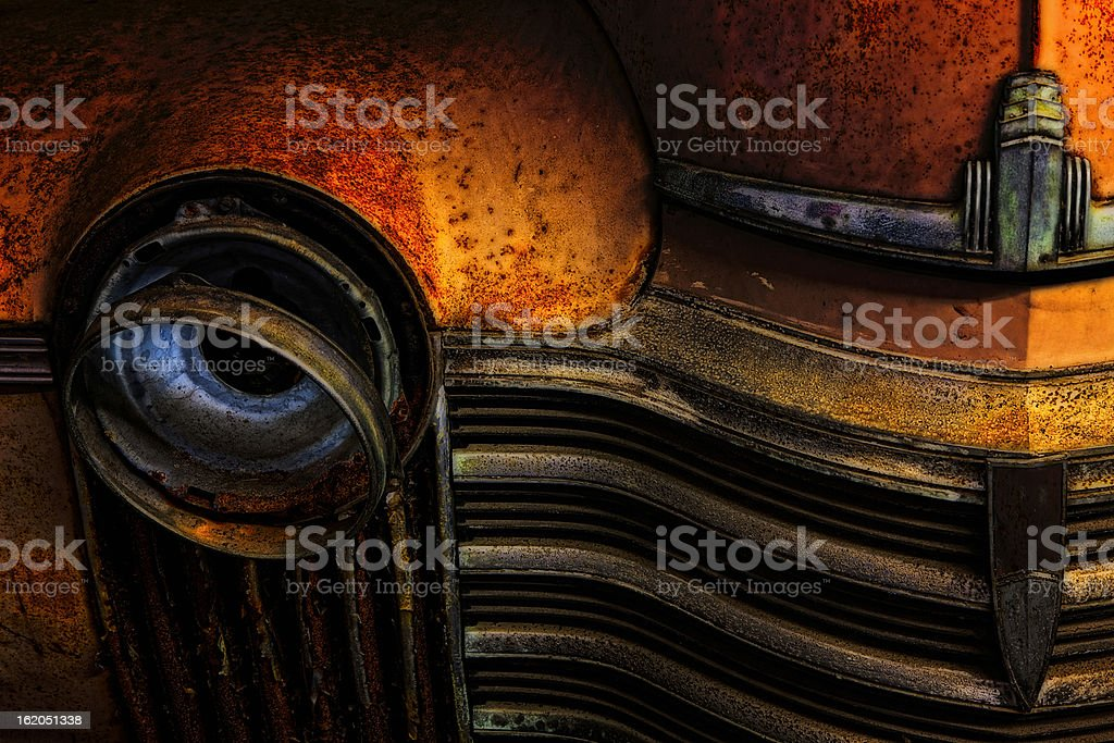 Old Rusted American Car, Front Detail, 1941 Oldsmobile Series 60 royalty-free stock photo