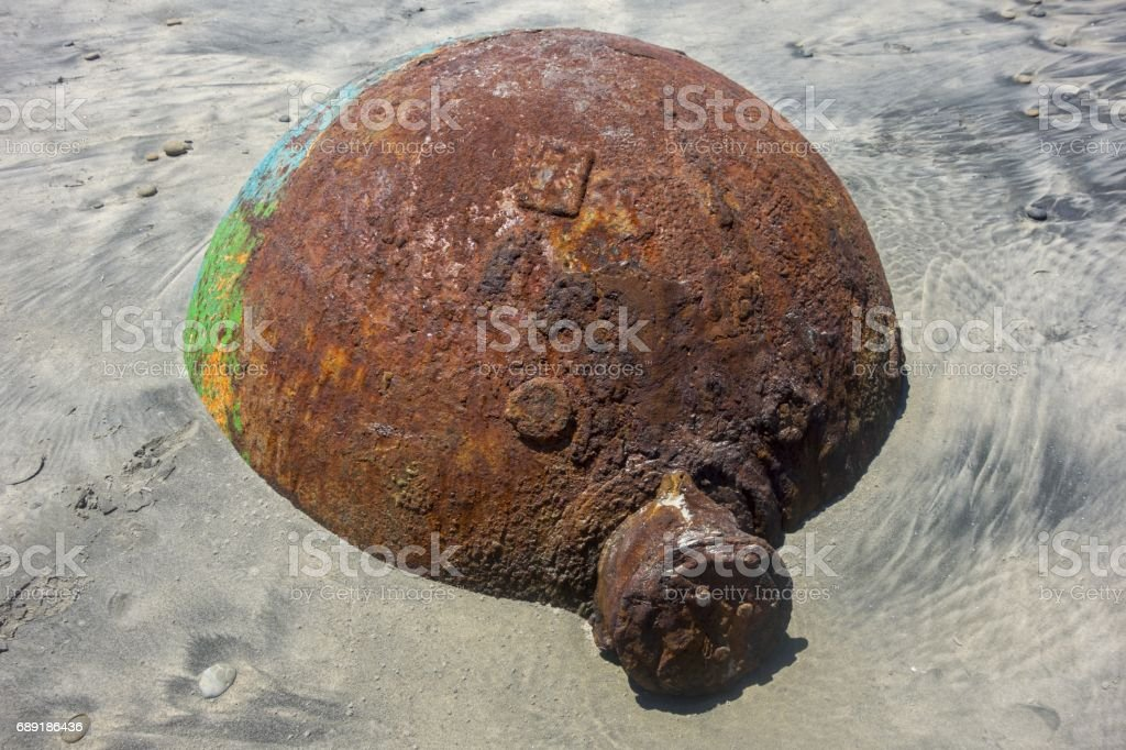 Old Rusted Buoy stock photo