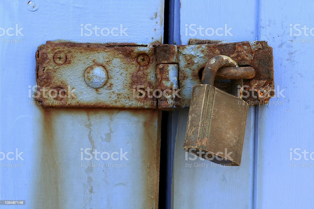 Old Rusted Latch and Padlock royalty-free stock photo