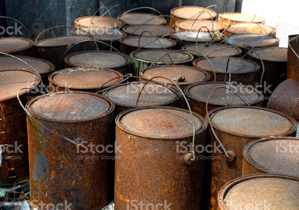 Old Rusted Paint Cans stock photo
