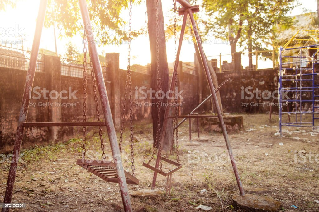 Old rusted playground stock photo