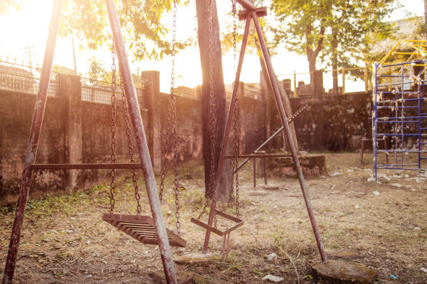 old rusted playground - run down stock pictures, royalty-free photos & images