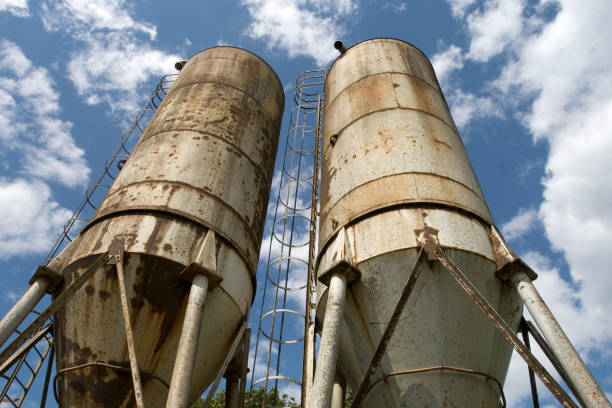 Old rusted silos stock photo