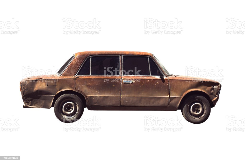Old rusted torched car stock photo