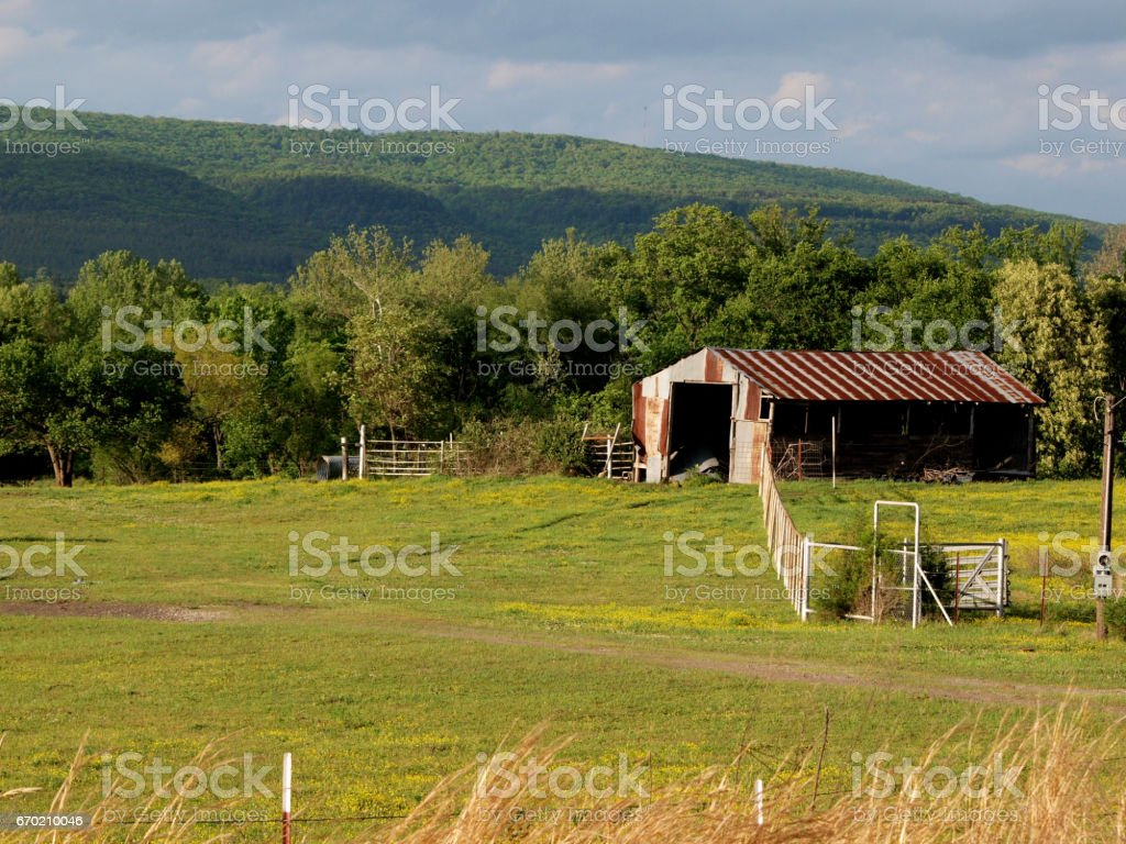 Old Rusted Wood Barn stock photo
