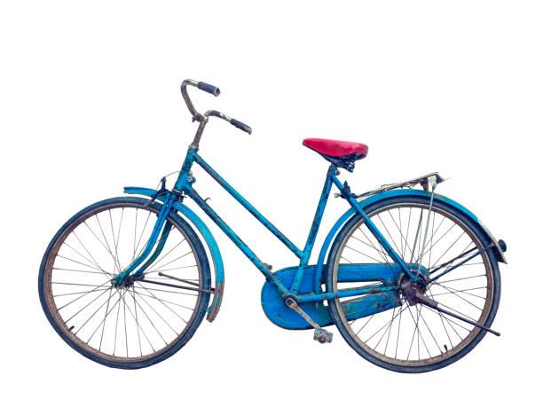 gammal rustik blå cykel - ancient white background bildbanksfoton och bilder