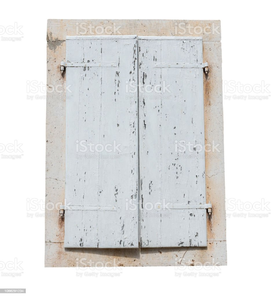 Old Rustic Closed White Wooden Window Shutters Isolated On