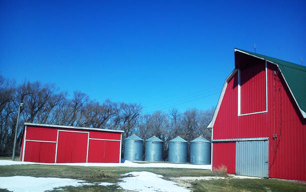 Old rustic country barns stock photo