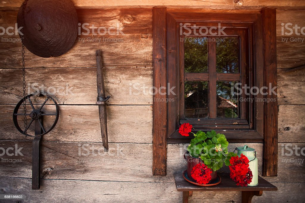 Old rustic house stock photo