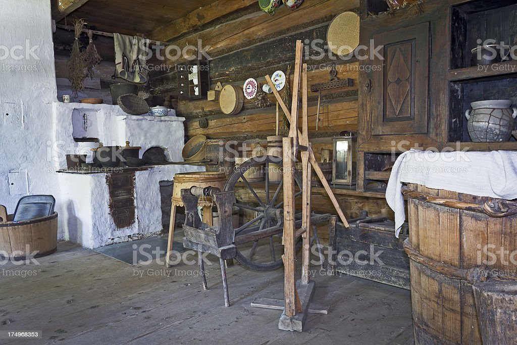 Old Rustic Kitchen Interior stock photo